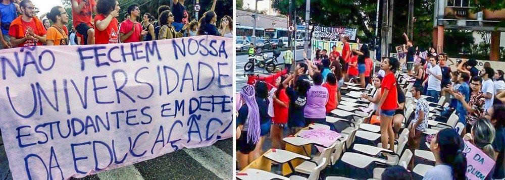 ESTUDANTES DA FEDERAL DO CEARÁ SAEM ÀS RUAS EM DEFESA DA EDUCAÇÃO
