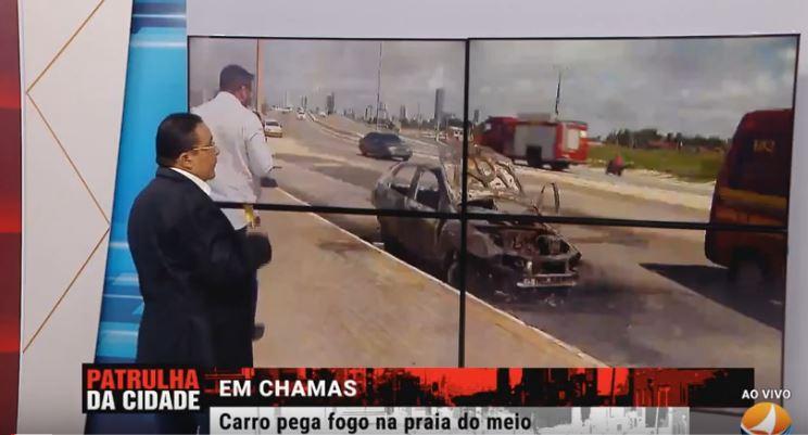 Carro pega fogo em Praia do Forte e suspeita é de incêndio criminoso