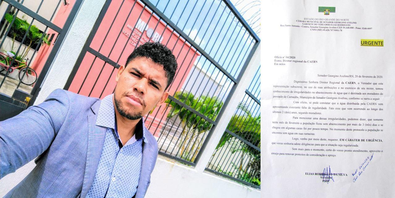 VEREADOR ELIAS RODRIGUES ENTRA COM REPRESENTAÇÃO EM CARÁTER DE URGÊNCIA NO MINISTÉRIO PUBLICO CONTRA A CAERN