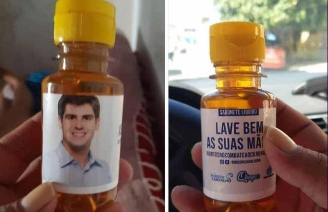 Vereador no RN distribui sabão líquido com sua foto para prevenir contra o coronavírus e vira alvo do MP