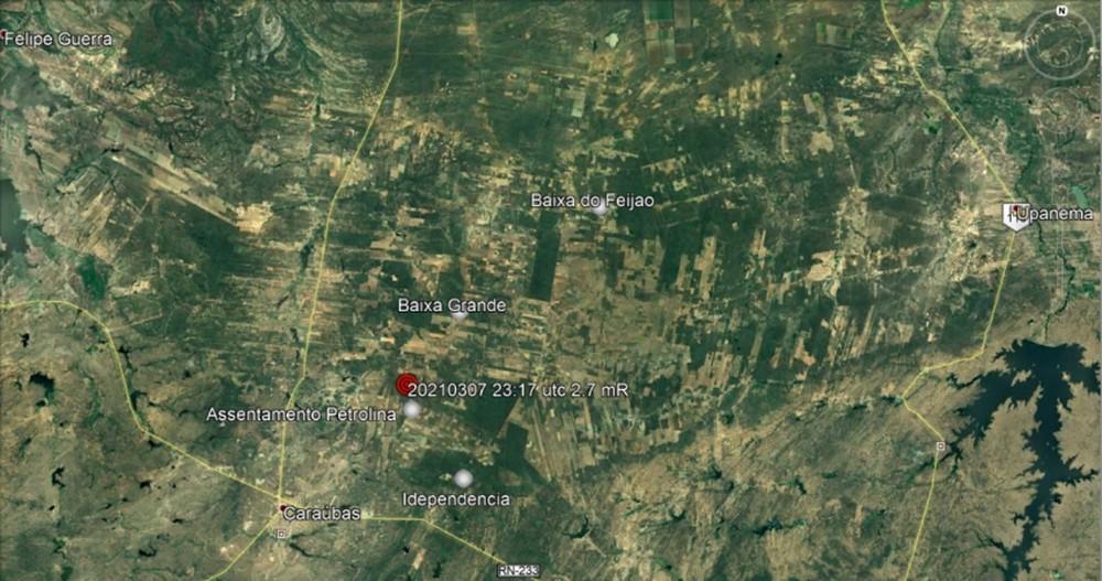 Cinco tremores de terra são registrados em três cidades do RN