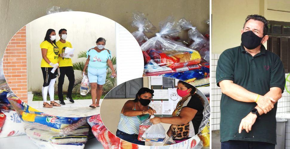 CERCA DE 900 FAMÍLIAS SÃO BENEFICIADAS COM CESTAS BÁSICAS DOADAS PELA PREFEITURA DE GEORGINO AVELINO NESTA SEXTA (30/04)